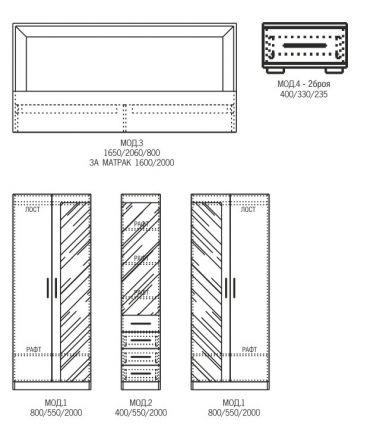 Спален комплект Космополитан 8