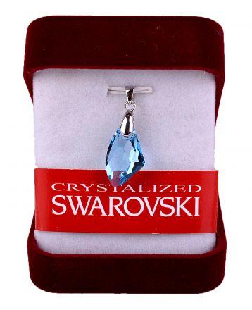 Колие светло син кристал Сваровски със сребърно захващане