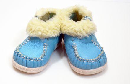 БЕКО Зимни буйки естествена  кожа с цип сини №17