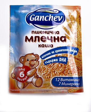 Ganchev-Пшенична млечна каша Зърнин 8 ,50g, 6+
