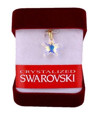 """Колие""""Морска звезда""""кристал Сваровски АВ16мм със позлатено захващане"""