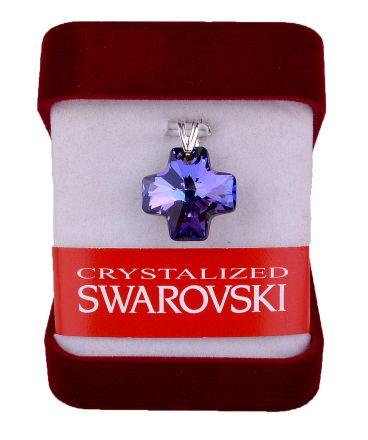 """Колие""""Кръст""""кристал Сваровски 20мм със сребърно захващане-синьо/лилаво"""