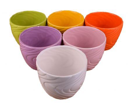 Кашпа едноцветна вълнообразна керамика